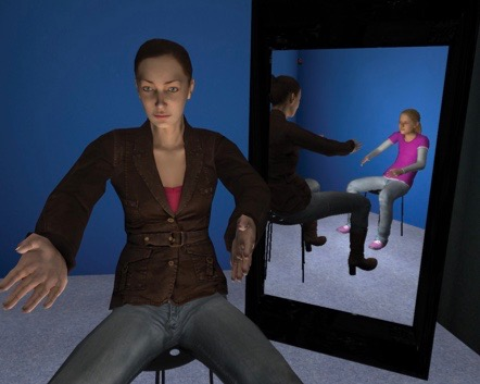Giving and receiving compassion in VR. Pictures (adapted) by Chris Brewin via PLOS ONE (http://journals.plos.org/plosone/article?id=10.1371/journal.pone.0111933)