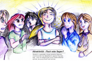 """""""Attraktivität – Fluch oder Segen? Gerade im Jugendalter müssen attraktive Mädchen – manchmal trotz ihrer Beliebtheit im eigenen Freundeskreis – auch mit Anfeindungen anderer Mädchen rechnen, die sie als Rivalin wahrnehmen. Gutes Aussehen kann also – je nach Situation und der Konstellation der Personen – sowohl mit Vorteilen als auch mit Nachteilen verbunden sein."""" (Quelle: Eigentum der Autoren)"""