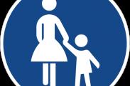 Dieses Schild kennzeichnet eine Fußgängerzone in Deutschland. Dargestellt sind eine Frau und ein Kind. Bild: CopyrightFreePictures via Pixabay (https://pixabay.com/en/traffic-sign-road-sign-shield-6641/, CC:  https://pixabay.com/de/service/license/).