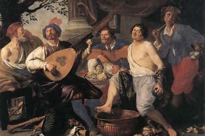 Bild 3: Die fünf Sinne: Ein allegorisches Gemälde von Theodoor Rombouts (1597-1637). Von links nach rechts sind dargestellt das Sehen, das Hören, das Tasten, das Schmecken und das Riechen.