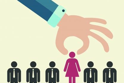 Die Frauenquote greift in europäischen Ländern. Quelle: makyzz via istockphoto (https://www.istockphoto.com/de/vektor/die-wahl-der-besten-kandidat-f%C3%BCr-den-job-konzept-die-hand-hob-ein-strichm%C3%A4nnchen-gm826735968-134620987?esource=SEO_GIS_CDN_Redirect)